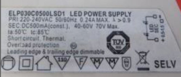LED-DRIVER EAGLERISE EIP030C50